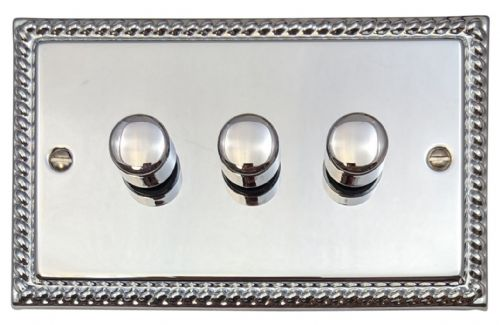 G&H MC13 Monarch Roped Polished Chrome 3 Gang 1 or 2 Way 40-400W Dimmer Switch